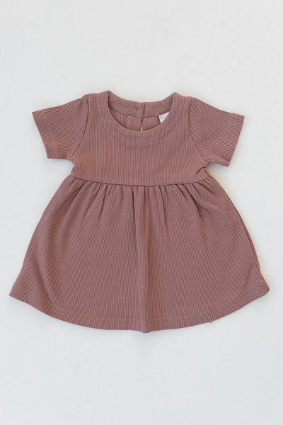 Dusty Rose Ribbed Organic Cotton Dress
