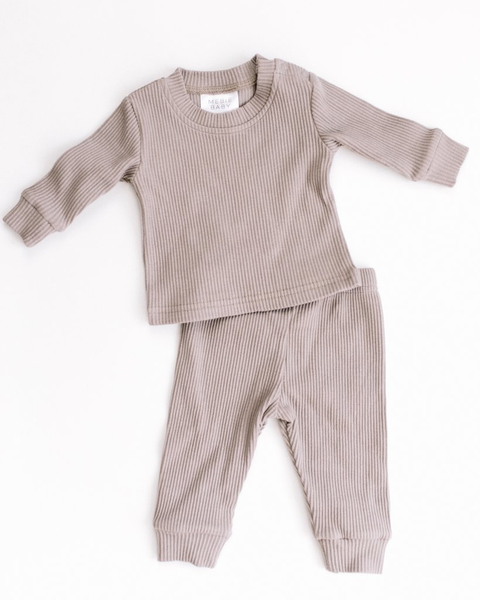 Taupe Ribbed Two-piece Cozy Set