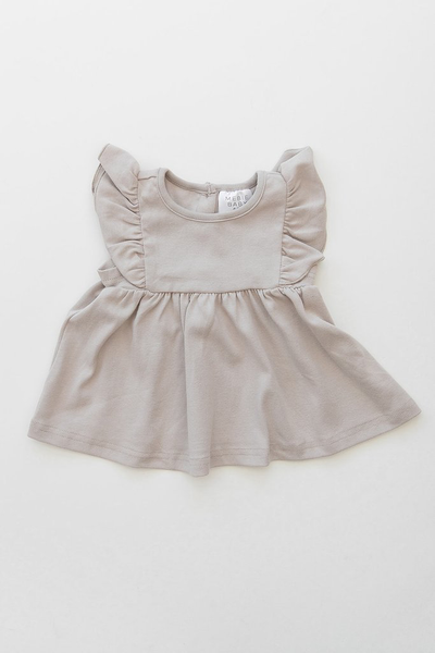 Cotton Ruffle Dress-Ash