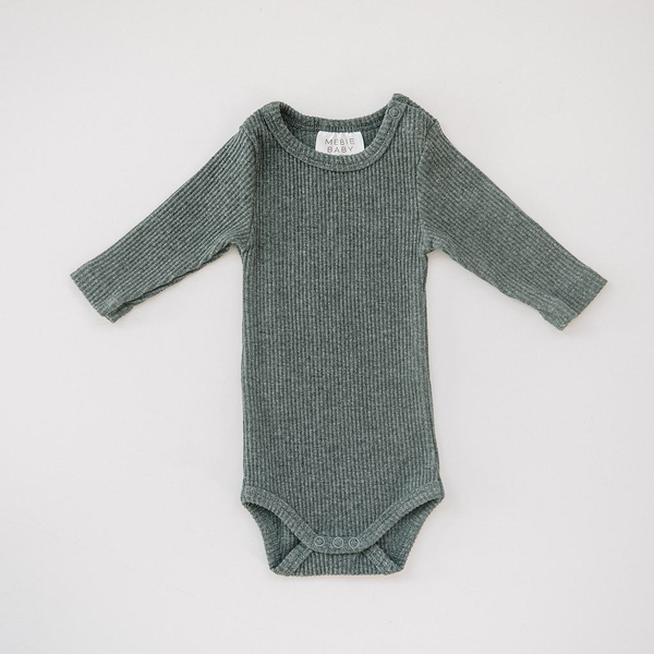 Ribbed Heather Charcoal Bodysuit