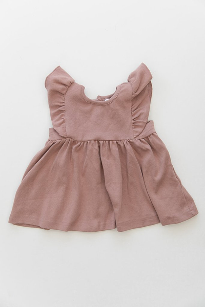 Cotton Ruffle Dress-Blush
