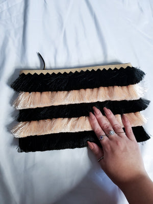 Black and Fringed Clutch  - Upcycled Accessories - The Mix HamOnt