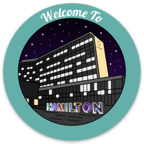 """Welcome To Hamilton"" sticker with Hamilton sign in front of City Hall - The Mix HamOnt"