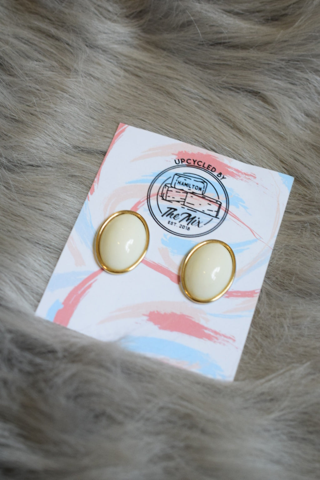 White + Gold Statement Earrings - Upcycled Accessories - The Mix HamOnt  Edit alt text