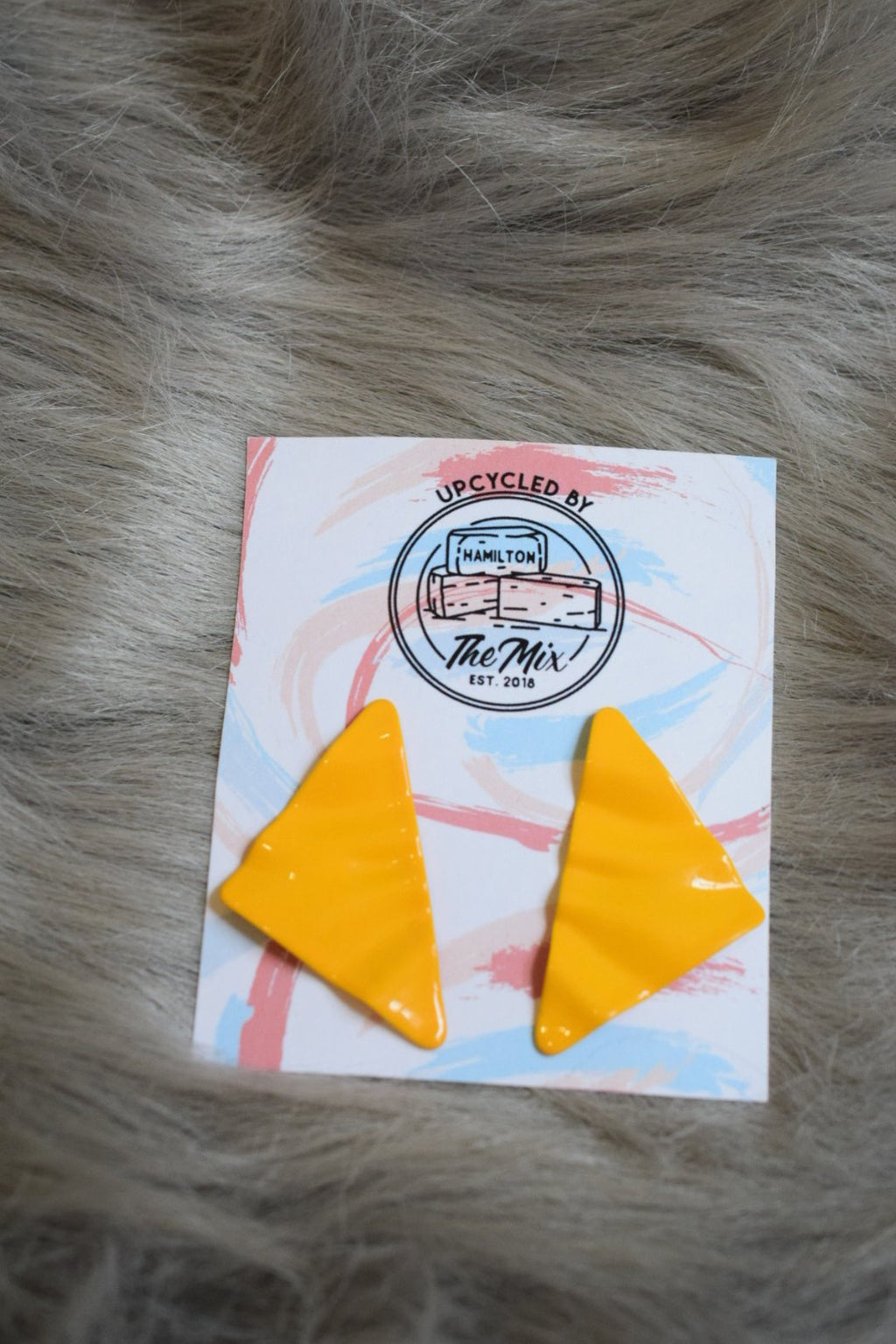 Upcycled Yellow Statement Earrings - Upcycled Accessories - The Mix HamOnt