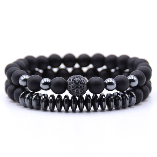 Men bracelet 2PCS/Set Matte Black Natural Stone Bracelet