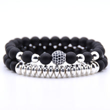Load image into Gallery viewer, Men bracelet 2PCS/Set Matte Black Natural Stone Bracelet