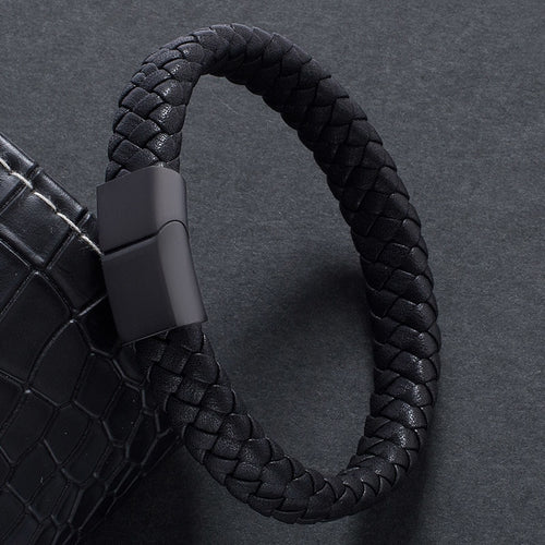 Men Jewelry Braided Leather Bracelet Handmade Bracelet Black Stainless Steel Magnetic Clasps