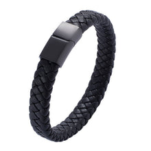 Load image into Gallery viewer, Men Jewelry Braided Leather Bracelet Handmade Bracelet Black Stainless Steel Magnetic Clasps