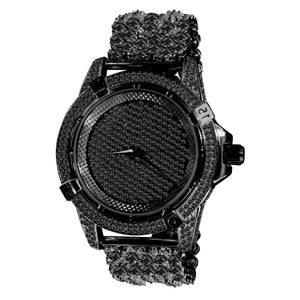 Black Diver Bezel Full CZ and Crystal accented Watch and Band