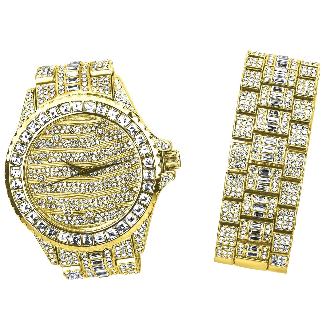 Gold/Silver Bling Master Watch/Bracelet Set