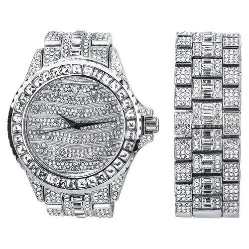 Silver Ultra Bling Master Watch/Bracelet Set