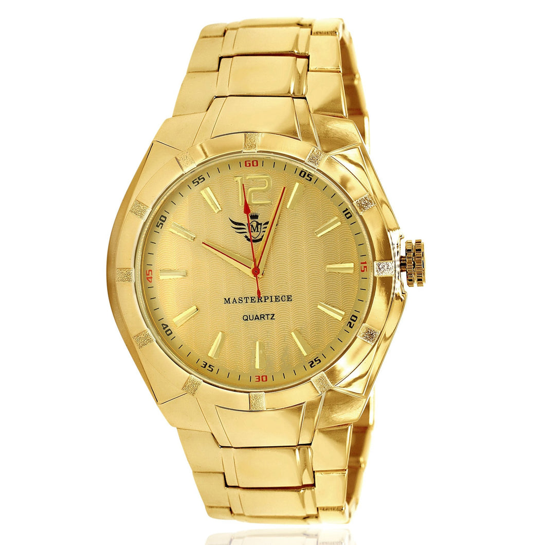 Gold Matte Accented Bezel Executive Mens Watch