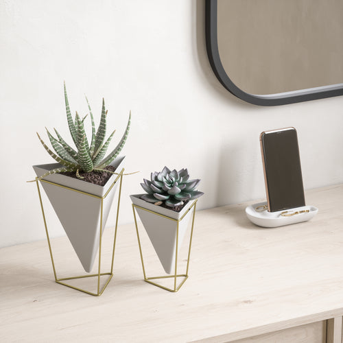 Tabletop Planters | color: White-Brass | Hover