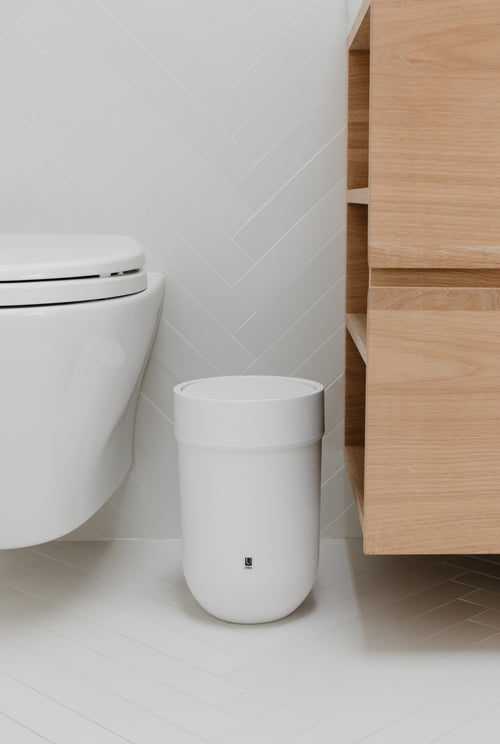 Bathroom Trash Cans | color: White | Hover
