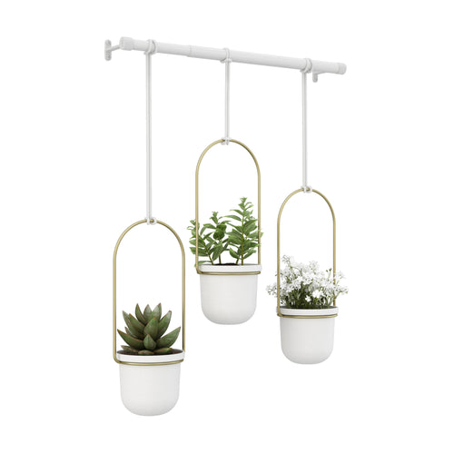 Hanging Planters | color: White-Brass