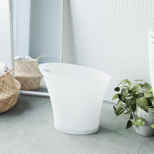 Bathroom Trash Cans | color: Metallic-White | Hover