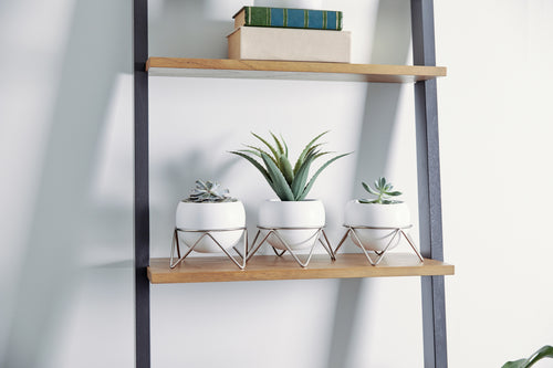 Tabletop Planters | color: White-Nickel | Hover