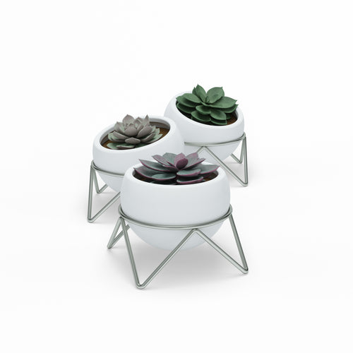 Tabletop Planters | color: White-Nickel