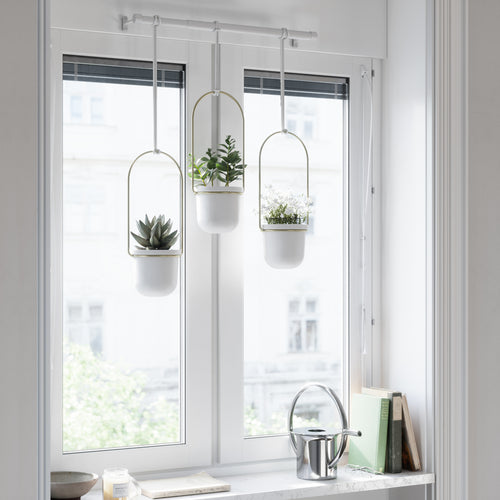 Hanging Planters | color: White-Brass | Hover