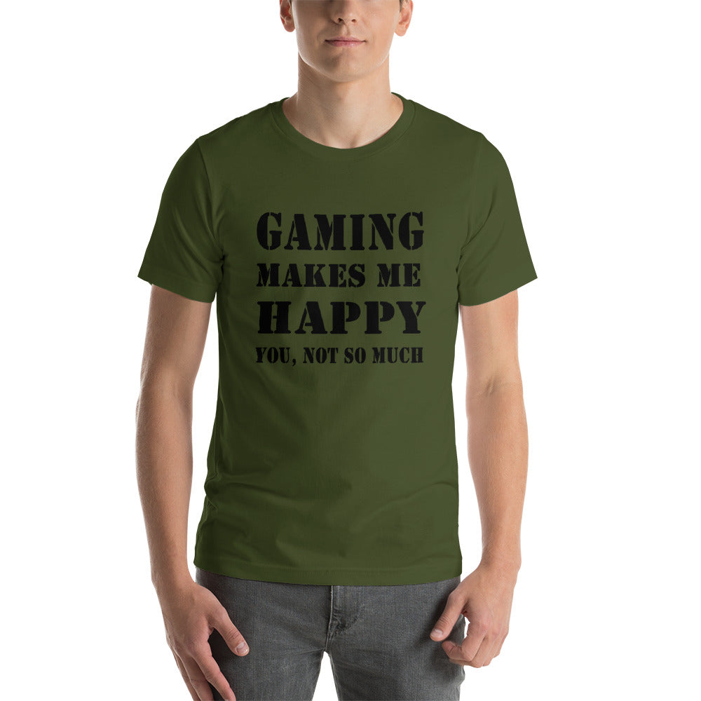 "T-Shirt mit Druck, ""Gaming makes me happy, you not so much"""
