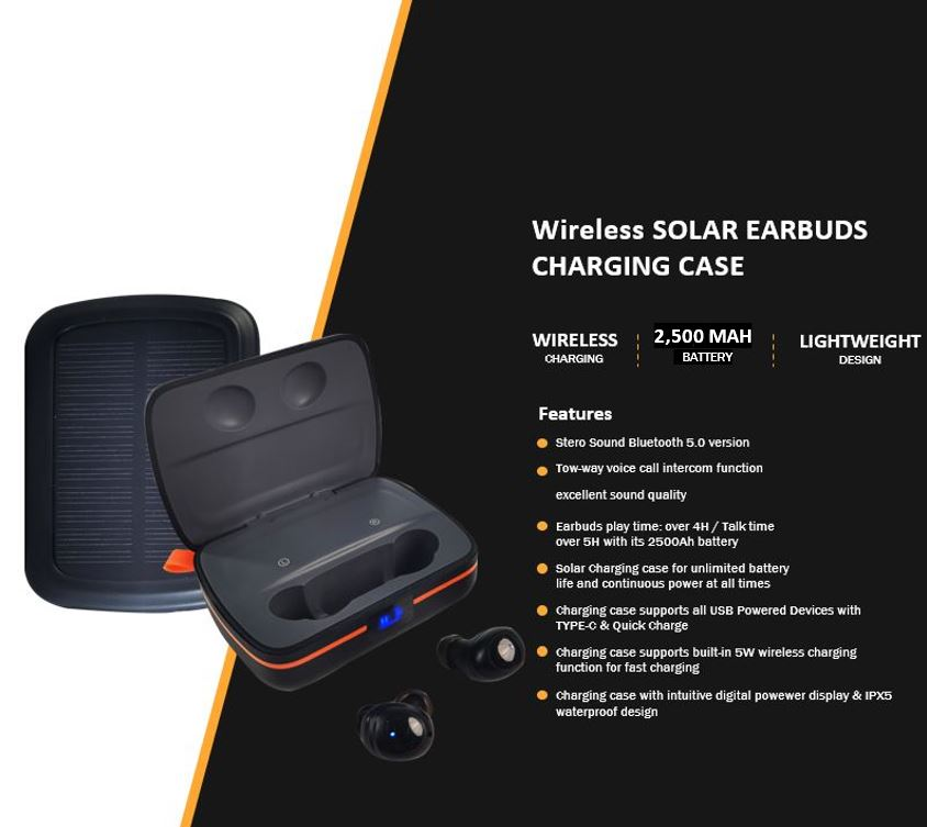 Wireless Solar Earbuds Charging Case | Bet Solar Power