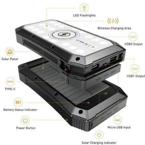 Wireless Lit Solar Power Bank 20,000mAh Type-C | Bet Solar Power - Bet Solar Power