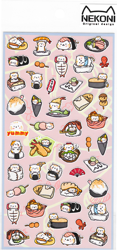Nekoni Sushi Cat Flat Sticker - TREEHOUSE kid and craft