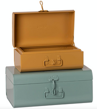 Load image into Gallery viewer, Metal Storage Suitcase Set- Blue/ Ochre - TREEHOUSE kid and craft