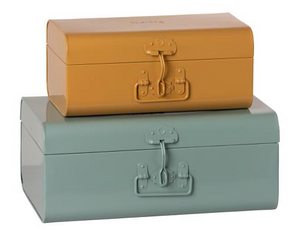 Metal Storage Suitcase Set- Blue/ Ochre - TREEHOUSE kid and craft