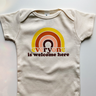 Everyone Is Welcome Here Onesie - TREEHOUSE kid and craft