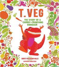 Load image into Gallery viewer, T. Veg: The Story of a Carrot-Crunching Dinosaur - TREEHOUSE kid and craft