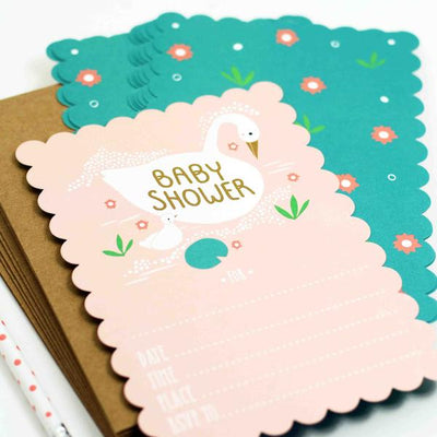 Swan Baby Shower Invitations (set of 10) - TREEHOUSE kid and craft
