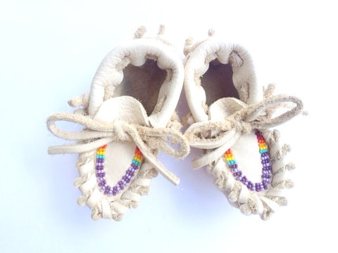 Rainbow Beaded Baby Moccasins