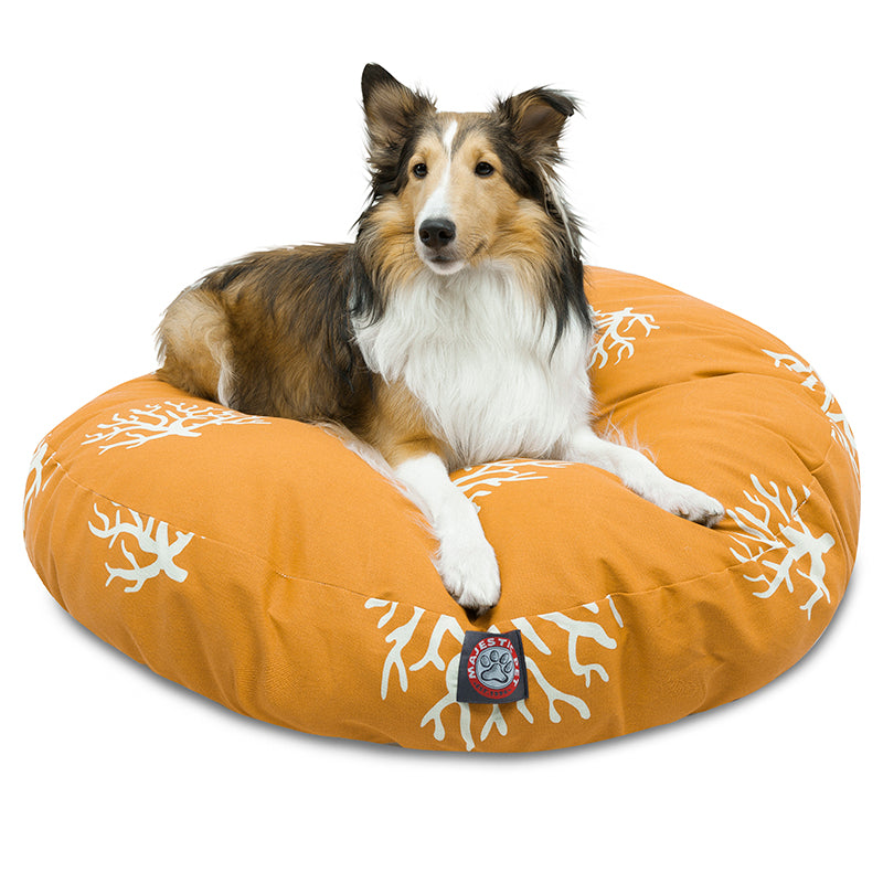YELLOW CORAL SMALL ROUND DOG BED