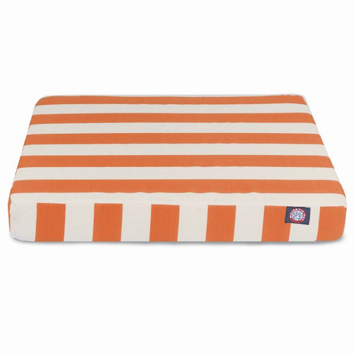 BURNT ORANGE VERTICAL STRIPE SMALL ORTHOPEDIC MEMORY FOAM RECTANGLE DOG BED