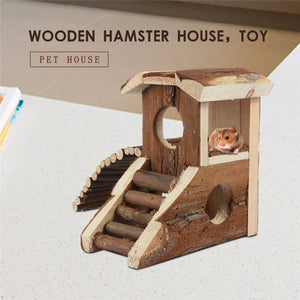 Wood Two-storey Villa With Stairs For Pet Hamster