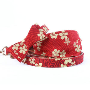 Leash Dog PU Bandana-Style Bow Tie Collar