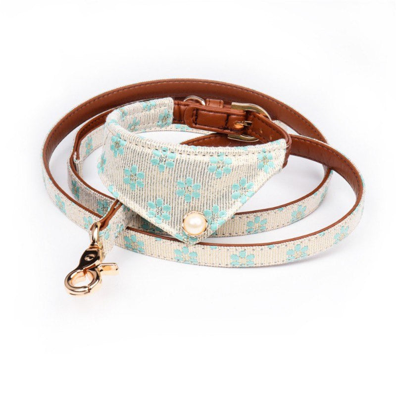 Dog PU Traction Rope Collar and Leash Set Adjustable Buckled Harness