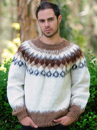 Alpaca White with Brown and Black Sweater