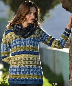 Alpaca Blue and Green Patterned Sweater