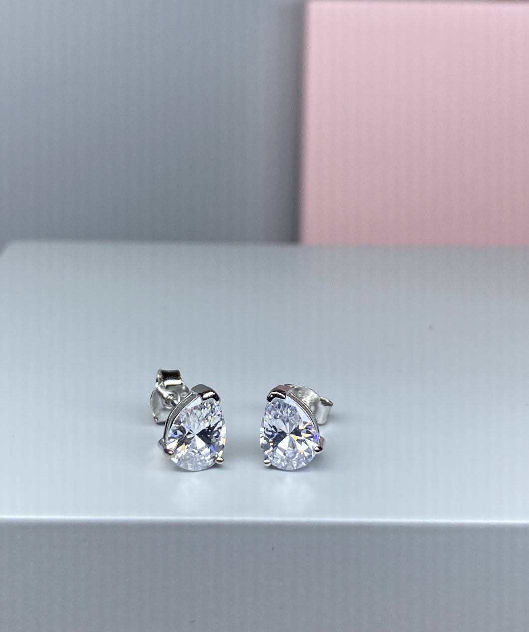 Sterling Silver Pear Shape CZ Earrings - 8.5mm