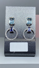 Load image into Gallery viewer, Sterling Silver Multi CZ Drop Stud Earrings