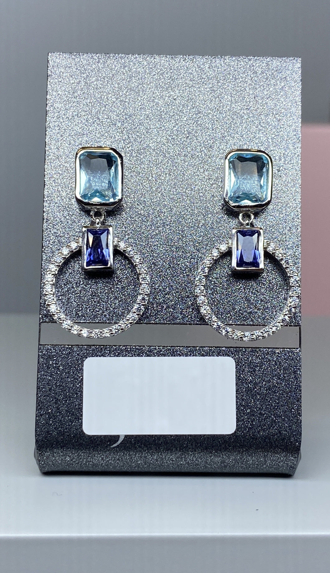 Sterling Silver Multi CZ Drop Stud Earrings