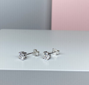 Sterling Silver Round CZ Earrings - 5mm