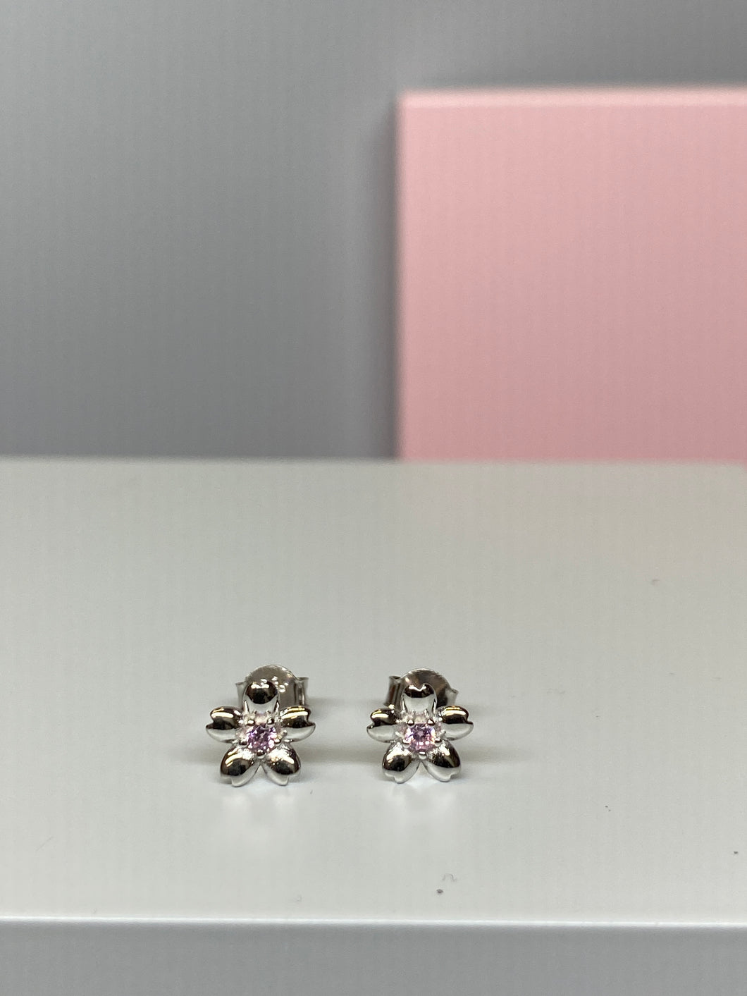 Sterling Silver Pink CZ Flower Earrings - 7.5mm