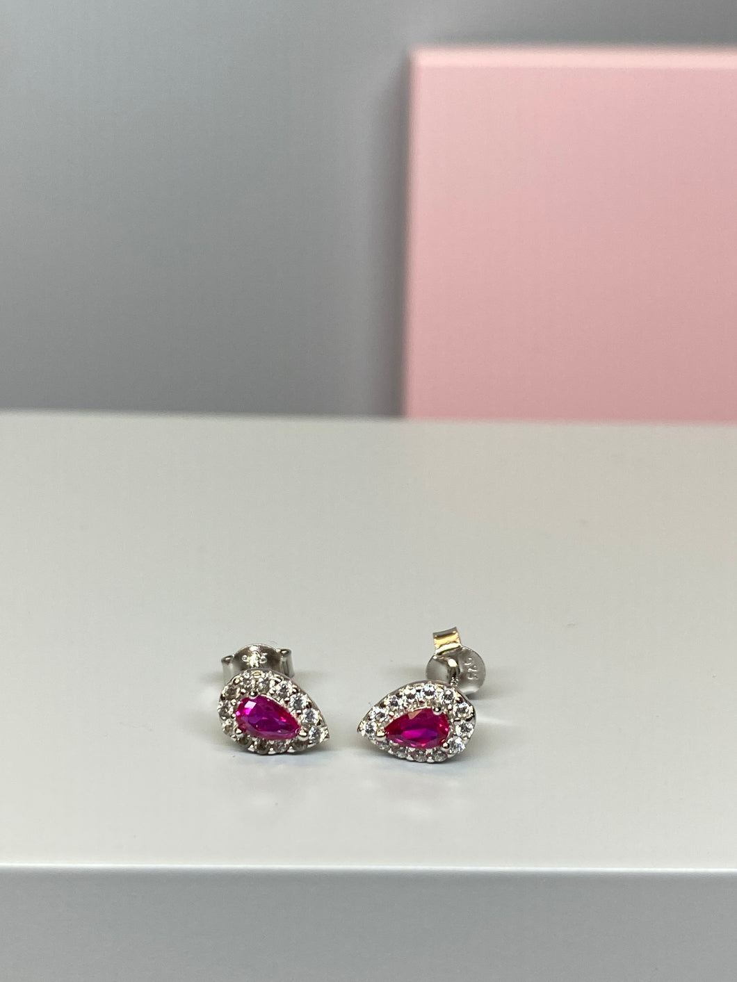 Sterling Silver Pear Shaped Pink and CZ Earrings