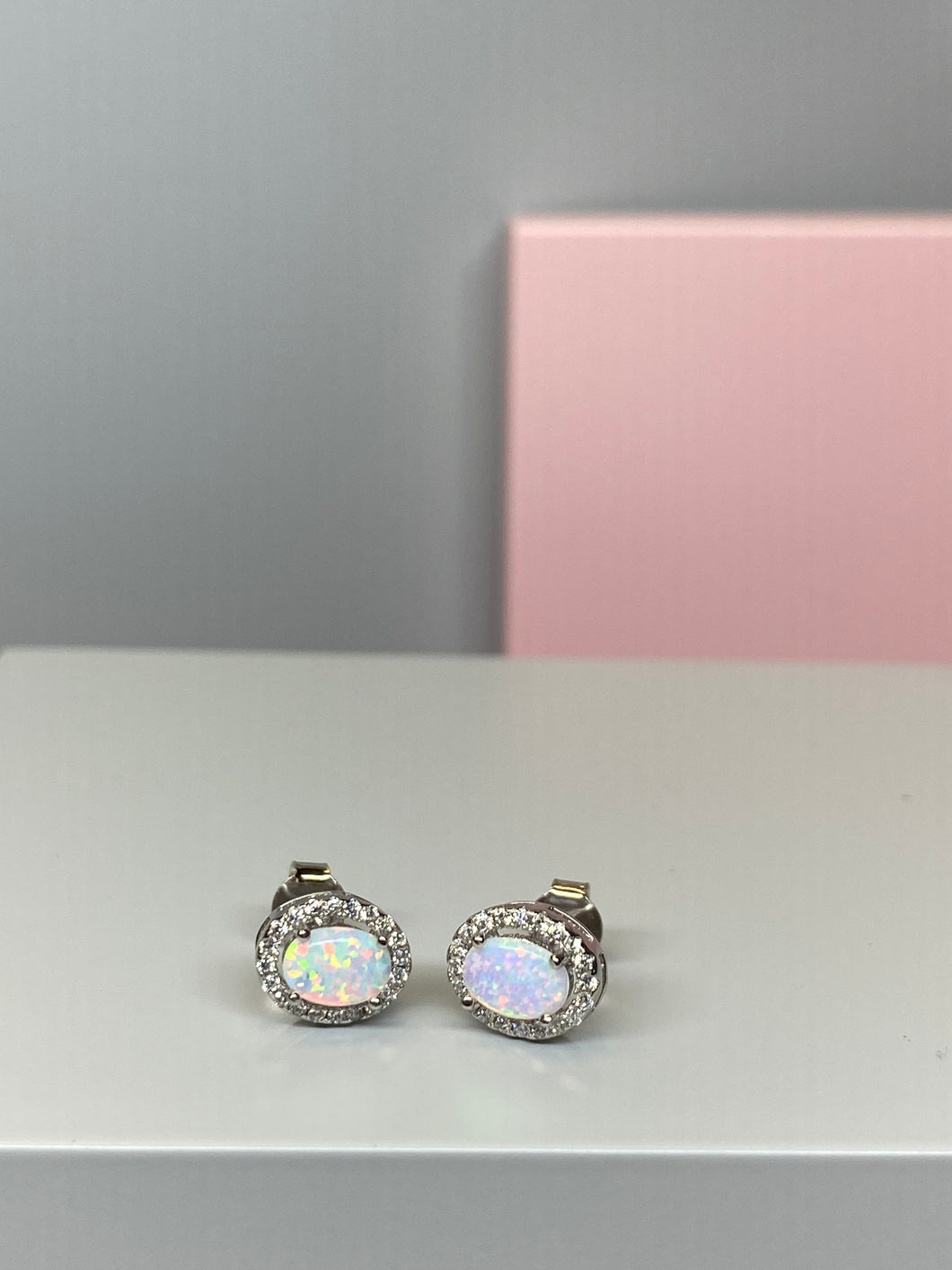 Sterling Silver Oval 'Opal' & CZ Earrings