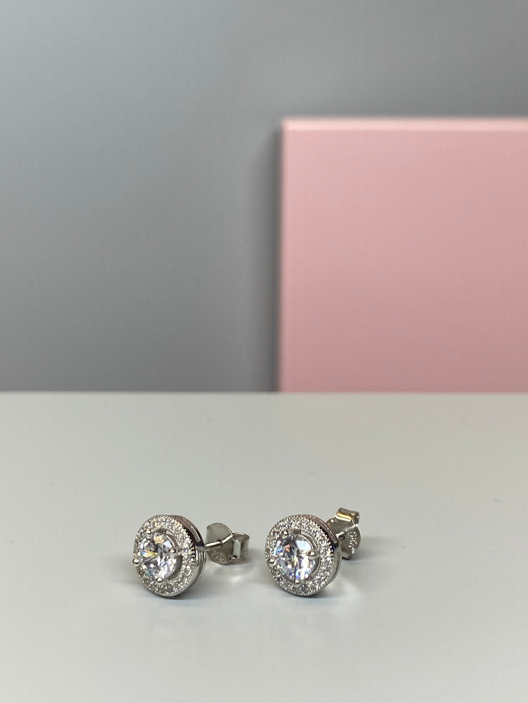 Sterling Silver Round Halo CZ Earrings - 8.5mm