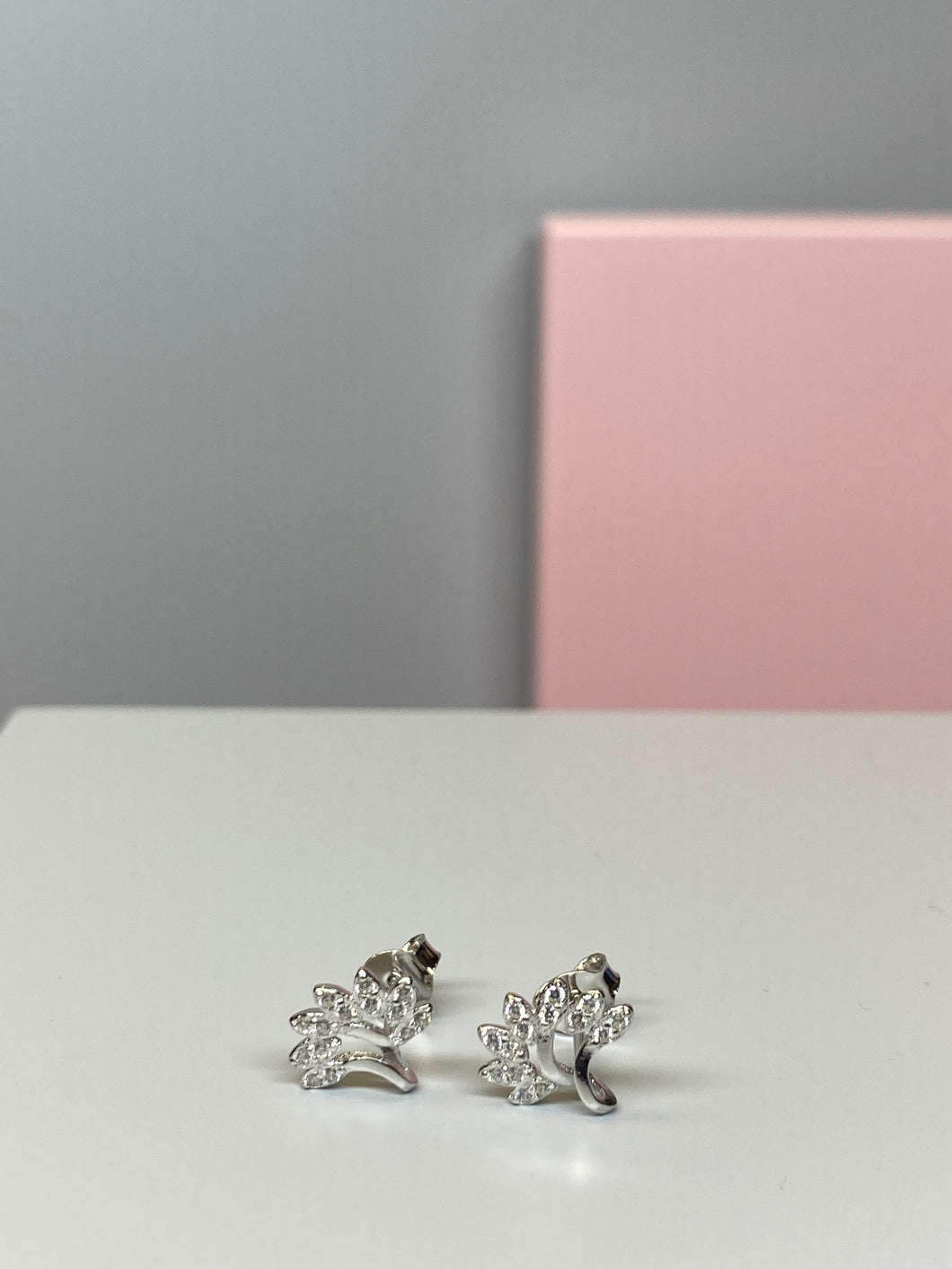 Sterling Silver Tree Shaped CZ Earrings